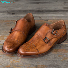 QYFCIOUFU Luxury Genuine Leather Men Dress Shoes Brand Fashion Groom Wedding Shoes Round Toe Slip-on Double Monk Strap Shoes Men maloneda brand men s patent leather shoes custom made goodyear welted double monk straps shoes slip on dress shoes