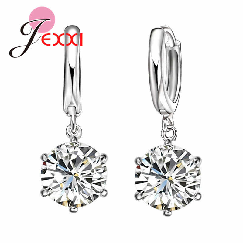 Hot Sale New women/girl's sparking CZ 925 Sterling Silver pierced dangle earrings jewelry gifts 925 Sterling Silver earrings