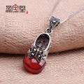 fashion folk style Natural semi-precious stones red Garnet Pendant butterfly bowknot princess shoes 925 silver necklace with box