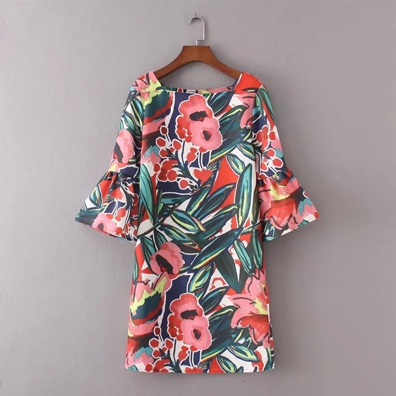 Summer Dresses Mid-sleeve Fall Dresses Vintage Floral Print Women Dress Casual Autumn Horn Sleeve Dress Female Clothes