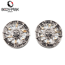 BODY PUNK Trendy Sun Plugs And Tunnels 2 Pcs Stainless Steel Gauges Expander Body Piercing Jewelry grillz  Expander 6-16mm