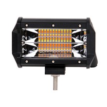 ECAHAYAKU 1x 5 Inch 72W Led Light Bar 3-Row Amber White Color for Jeep 4x4 Offroad SUV UAZ Working Fog Lights Headlight 12v 24v