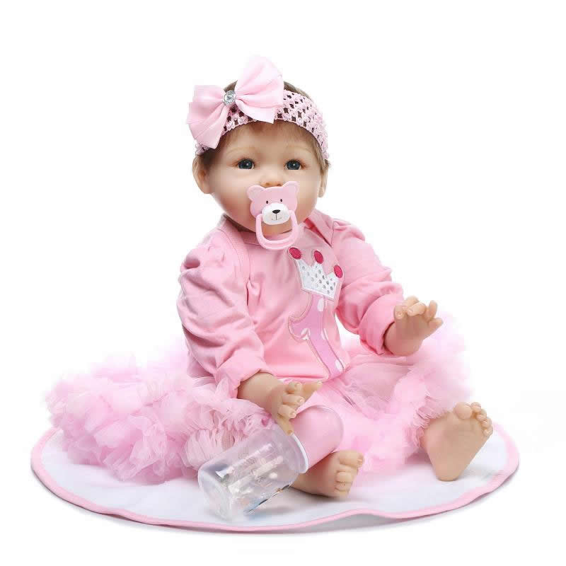 Cloth Body 22 Inch Baby Doll Newborn Lifelike Fashion Reborn Babies Girl Toy With Pink Dress Kids Birthday Christmas Gift can sit and lie 22 inch reborn baby doll realistic lifelike silicone newborn babies with pink dress kids birthday christmas gift