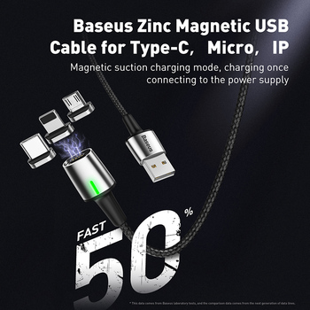 Baseus Magnetic Charge USB Cable for iPhone XR Xs Max Fast Charger Samsung S10 Huawei P30 USB Type C Cable LED Micro USB Cable 1