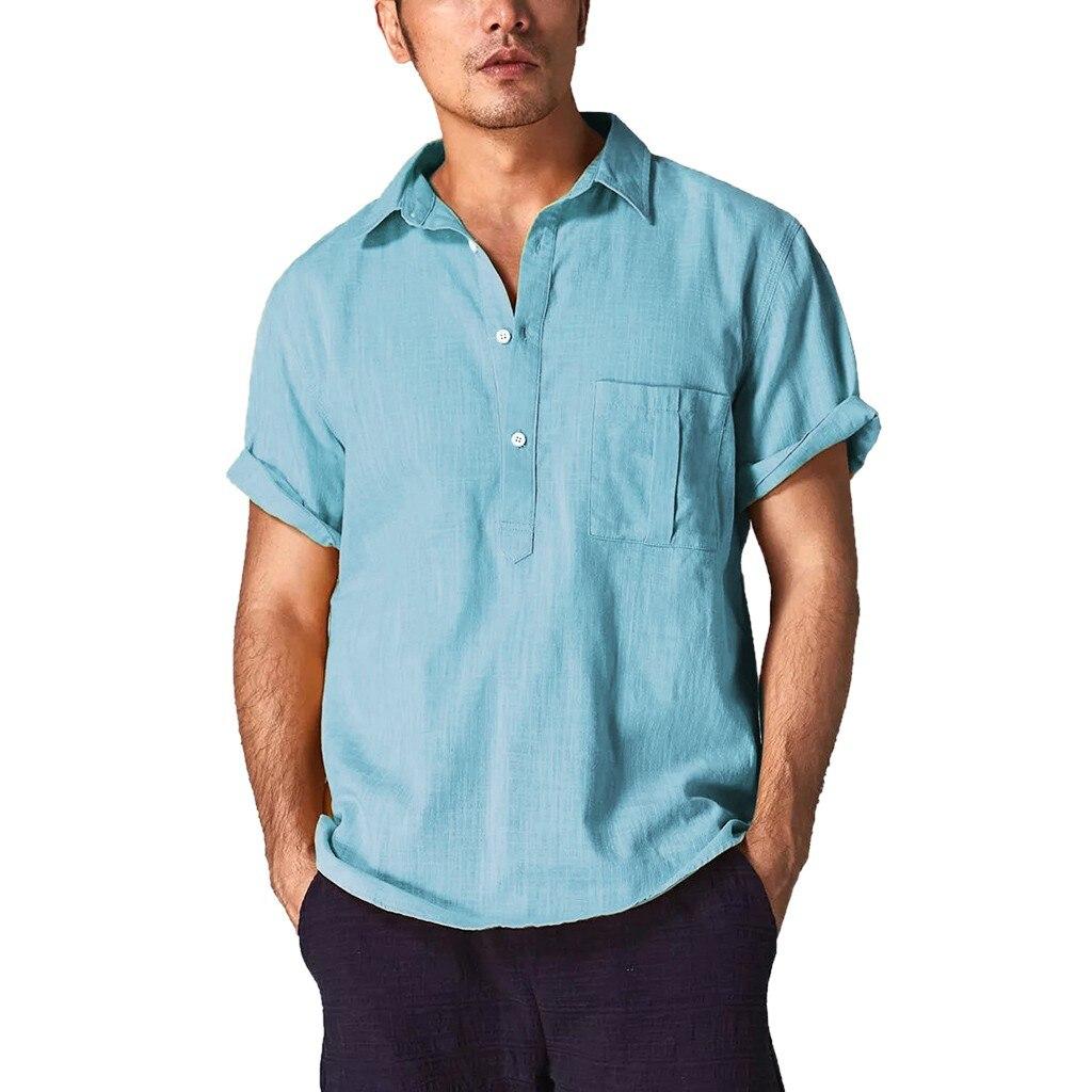 M-3XL Men T-shirt Summer Casual Formal Linen Blouse Top Tee soild color Shirts