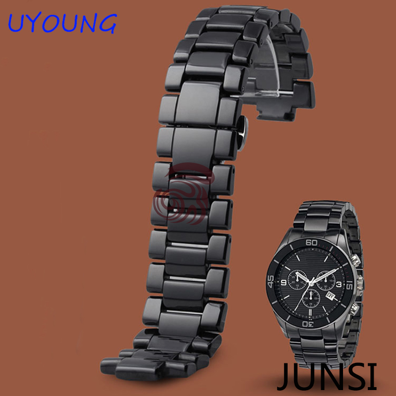 High Quality Ceramic Watchband Black White For AR1417 AR1400 AR1452 AR1407 mens ladys Diamond Watch Strap Bracelet все цены