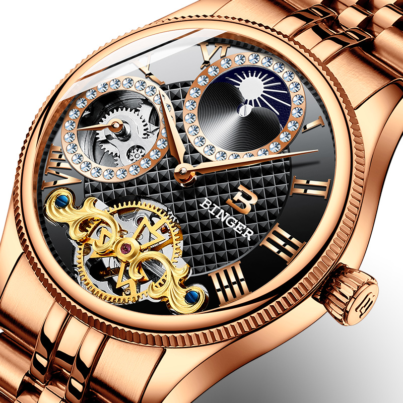 Switzerland Mechanical Men Watches Binger Luxury Brand Skeleton Wrist Waterproof Watch Men sapphire Male reloj hombre B1175-6 new binger mens watches brand luxury automatic mechanical men watch sapphire wrist watch male sports reloj hombre b 5080m 1