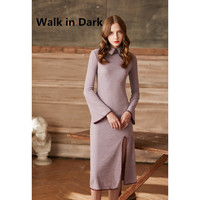 Walk In Dark 2017 Autumn Women New Fashion Vintage Color Embroidery Elegant Lapel Split Skirt Horn