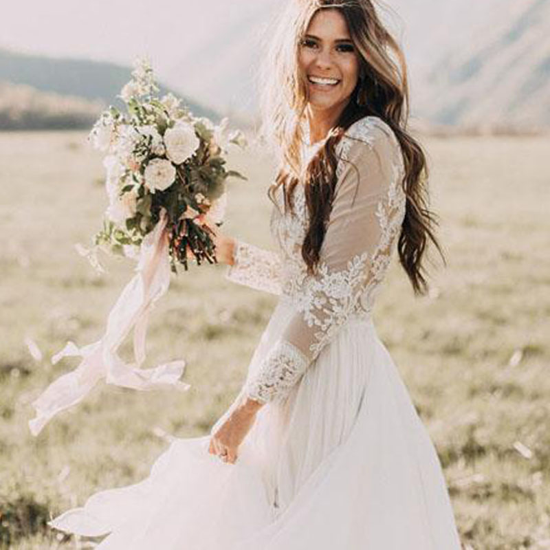 Купить с кэшбэком LORIE Boho Long Sleeve Wedding Dress 2019 Robe de mariee Vintage Lace Top New Bridal Dress Puffy Chiffon Wedding Dresses