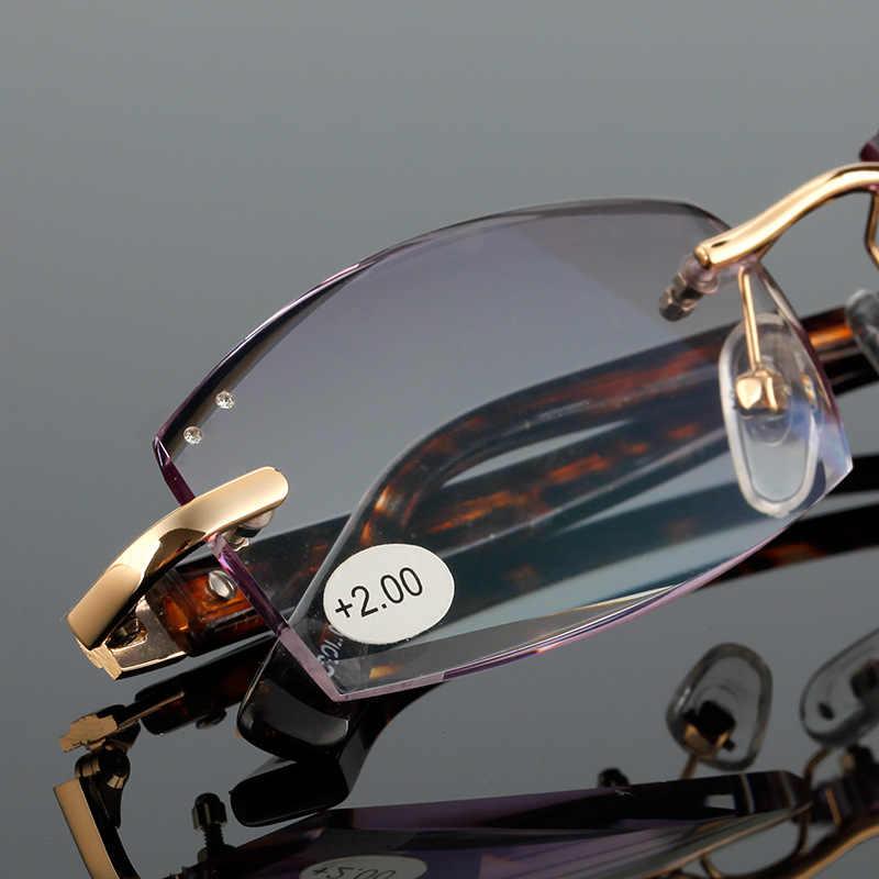42d694e3fce ... High Quality diamond Rimless Reading Glasses Men Women Eyeglasses Points  For Women Reading Men s Diopter 1.0