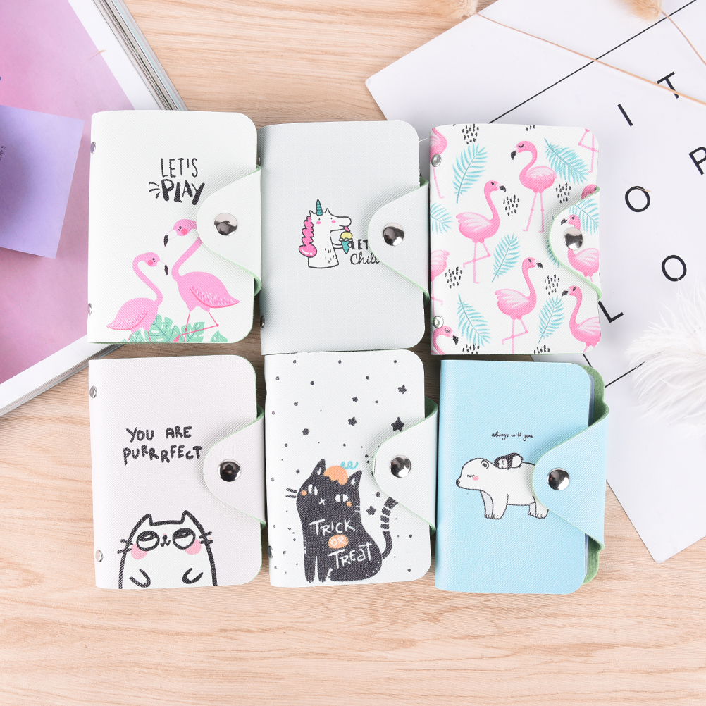 Fashion business card holder women leather wallet credit card holder book ID card case cartoon animal cardholder 20 card slots protective pu leather case w card holder slots for lg nexus 5 deep pink