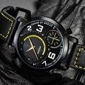 DESCANSO de Lujo Marca Moda Casual Hombres Clásico Reloj Correa De Cuero Genuino Del Deporte Militar reloj de Pulsera de Cuarzo de Negocios Reloj Del Regalo