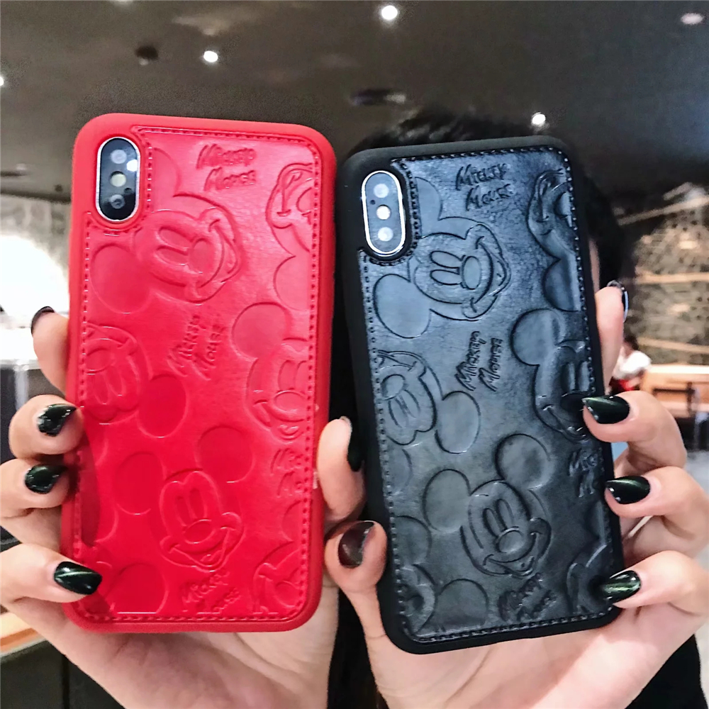 Electronics - Cartoon Mickey Minnie Mouse Leather Case For iPhone 8 7 6 6S Plus X Xs Max XR 3D embossing Disneys Painting Soft leather Cover