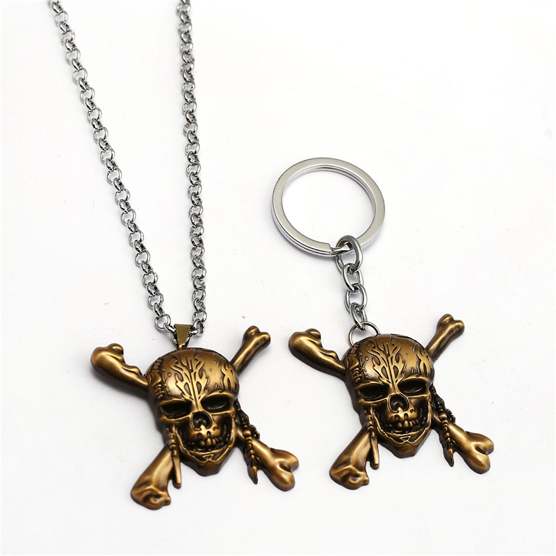2017 New arrival Pirates of the Caribbean keychain Captain Jack Sparrow mask with red hood Skull and Crossbones Keyring for fans