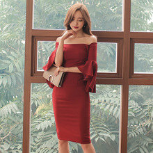 Red Slash Neck Casual Summer Dresses Plus Size Women 2017 Solid Flare Sleeve Brief Bandage Dress Bodycon Sexy Vestidos De Festa plain slash neck flare sleeve bodycon dress