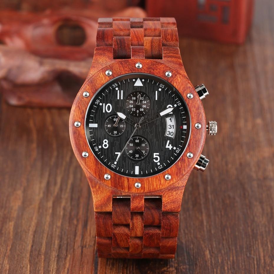 Wooden Watch Men erkek kol saati Top Luxury Stylish Redwood Timepieces Chronograph Military Date Calendar Quartz Watches for Men 2019 2020 2021 2022 (5)