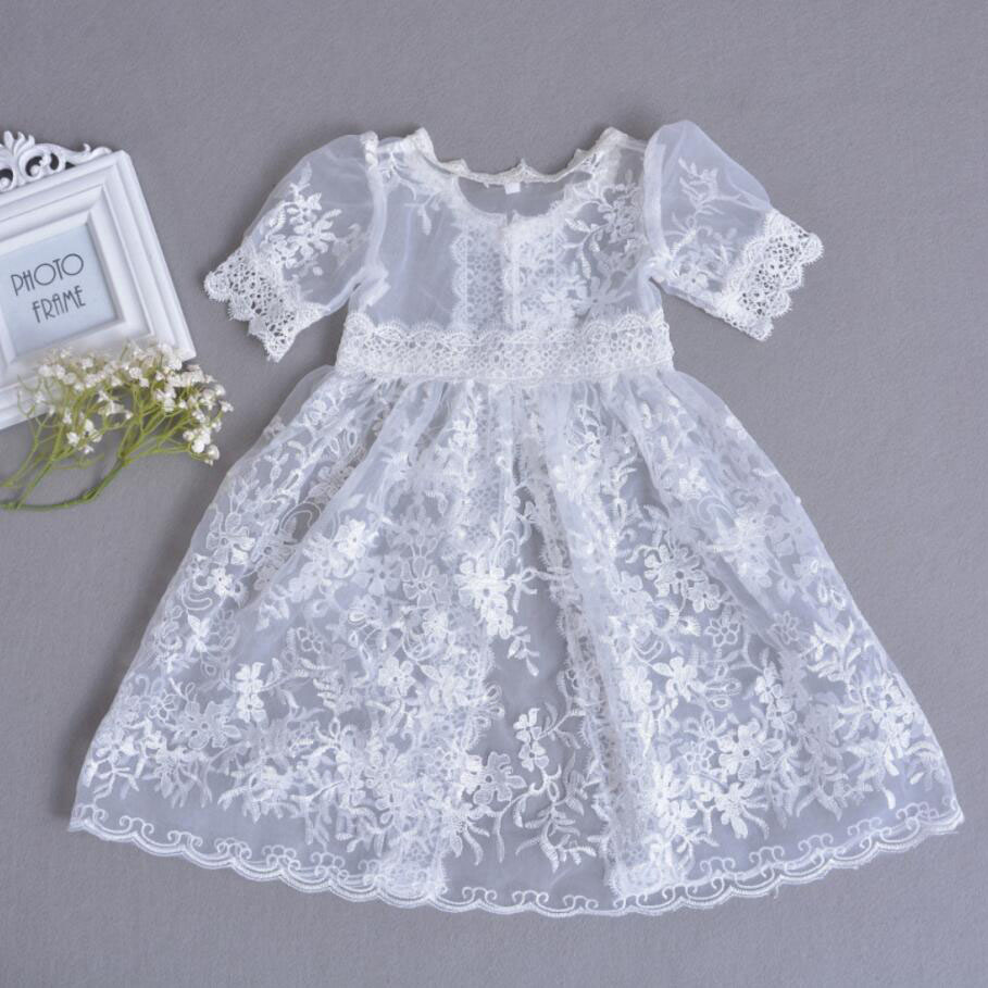 3PCs per Set Baby Girl Baptism Dress White Infant Girl Christening Gown Lace Embroidered Cape Hat 0-24Months