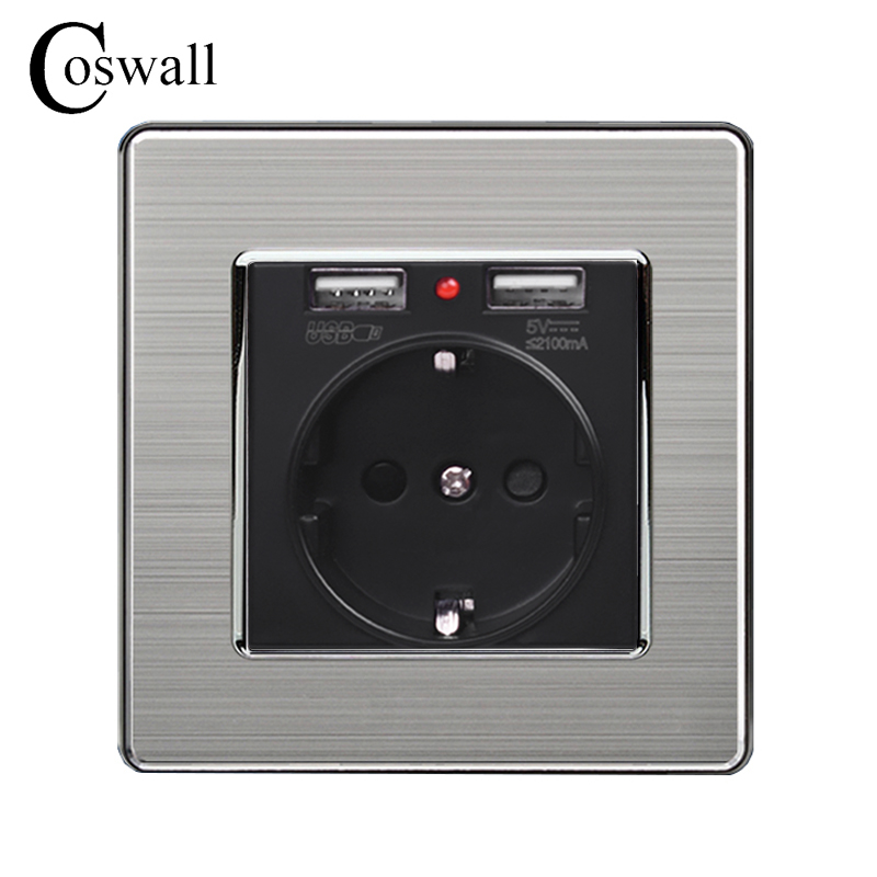 Coswall Black Dual USB Charging Port 5V 2.1A Wall Charger Adapter LED Indicator 16A EU Socket Power Outlet Stainless Steel Panel