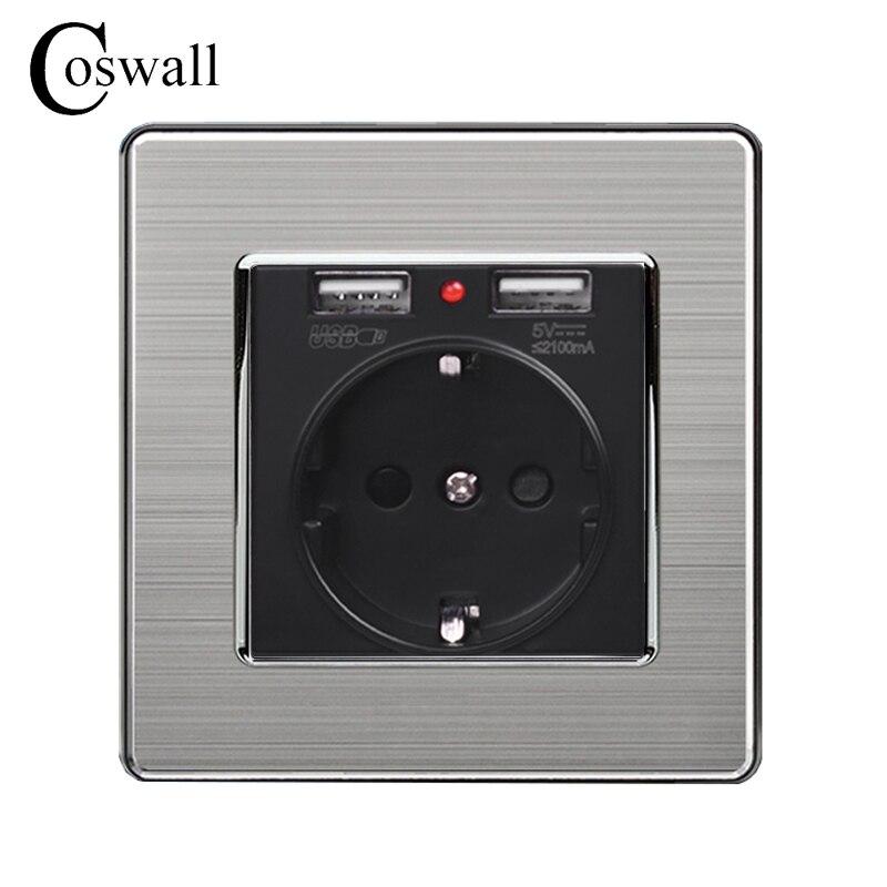 Coswall Schwarz Dual USB Lade Port 5 v 2.1A Wand Ladegerät Adapter Led-anzeige 16A EU Buchse Power Outlet Edelstahl stahl Panel