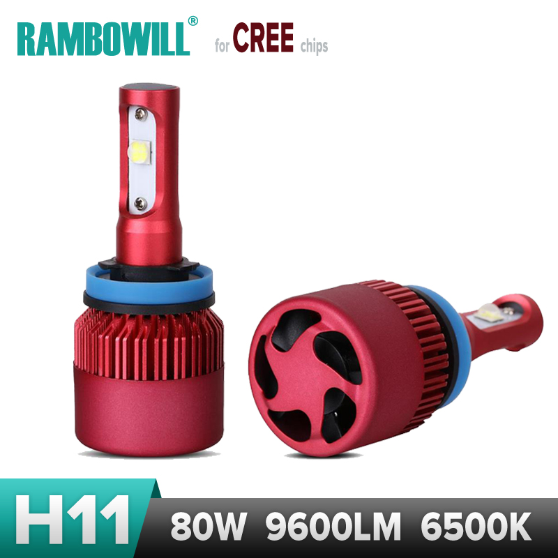H11 Car LED Headlight Bulb Cree XHP50 Chips Super Bright 80W 9600lm Headlamp Work Light External Single Beam 6500K 12V 24V