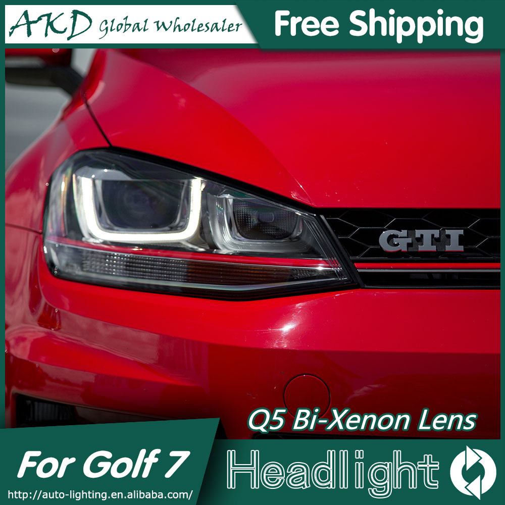 akd car styling gti design head lamp for vw golf 7 headlights golf7 mk7 gti led drl bi xenon. Black Bedroom Furniture Sets. Home Design Ideas