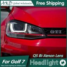 AKD Car Styling GTI Design Head Lamp for VW Golf 7 Headlights Golf7 Mk7 GTI LED DRL Bi Xenon Lens High Low Beam Parking Fog Lamp