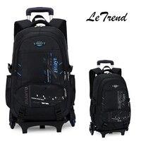 LeTrend Yüksek kapasiteli Öğrenci Omuz Sırt Çantası Haddeleme Bagaj Çocuk Arabası Bavul Tekerlek Kabin Seyahat Duffle Okul Çantası