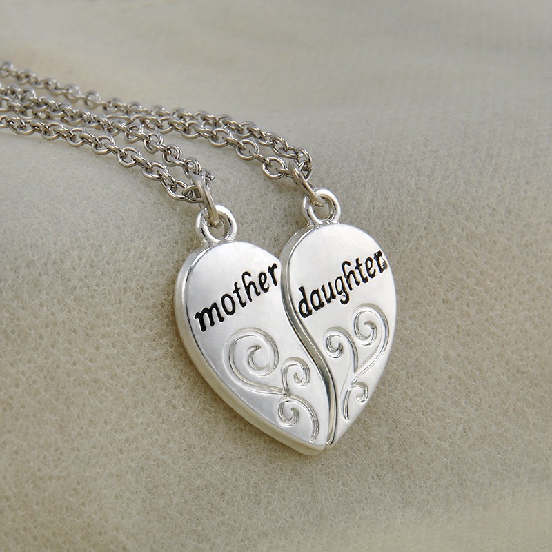 2pc silver plated mother daughter necklace silver heart love mom 2pc silver plated mother daughter necklace silver heart love mom necklaces pendants for women jewelry collier femme p1303 in pendant necklaces from aloadofball Gallery