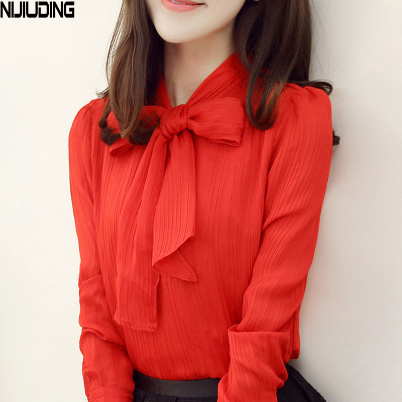NIJIUDING White Red Blouse Women Work Wear Bow Collar Long Sleeve Chiifon Blouse Top Shirt S-XXXL blusas feminina