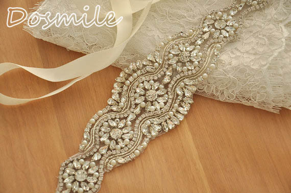 Hot sale bling waistband rhinestones appliques Bridal belt with crystals ivory satin sash for wedding