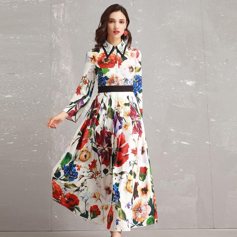Red roosarosee women 2019 봄 뉴 유럽 패션 거꾸로 칼라 긴 소매 인쇄 우아한 바닥 길이 맥시 드레스-에서드레스부터 여성 의류 의  그룹 1