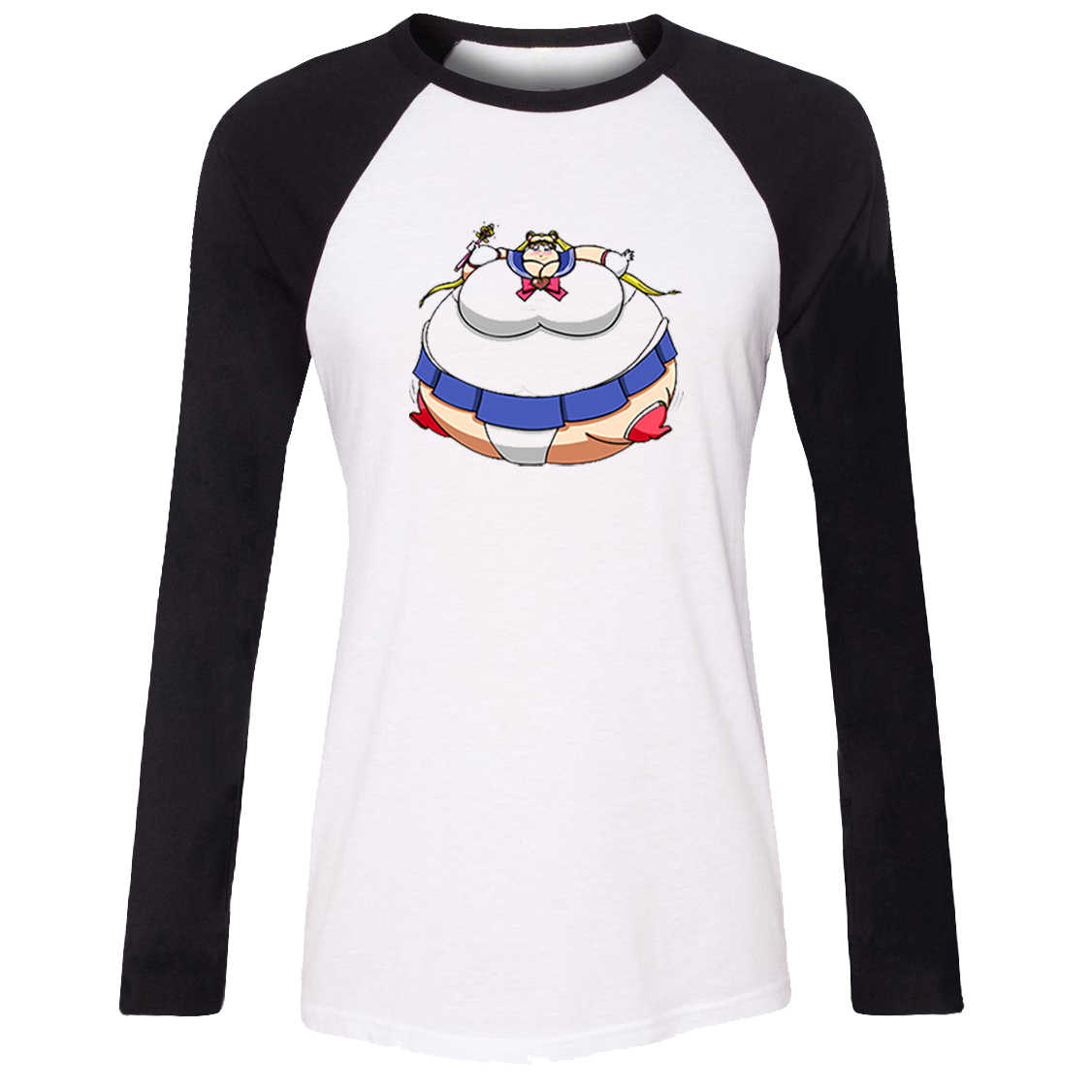 iDzn Women's T-shirt Funny obesity Sailor Moon I Represent The Moon To Destroy You Luna Cat Long Sleeve Girl's T shirt Tee Tops