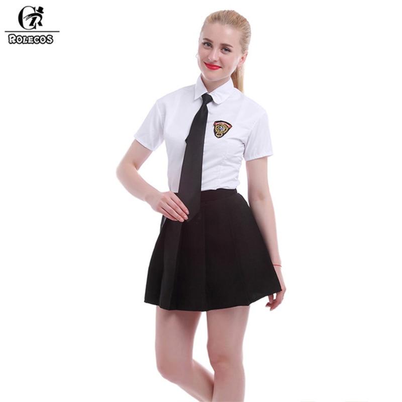 ROLECOS Japanese High School Uniform Girl Sailor Dress White/Black Skirt Uniform School Skirt for Women Cosplay Costume Uniforms