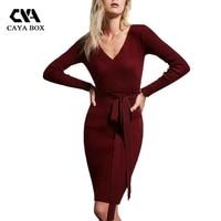 CAYA BOX V Neck Long Sleeve Knitted Bodycon Sweater Women Dress Fall 2017 Fashion Korean Sweater