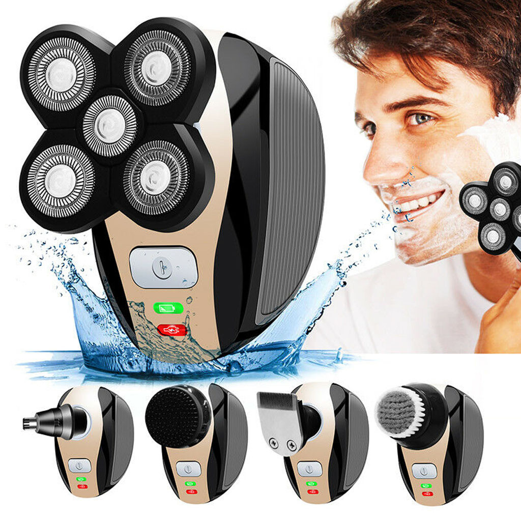 5 In 1 Rechargeable Bald Head Shaver Razor Hair Beard Trimmer Shaving Machine Removal Massager Razor Safety Set