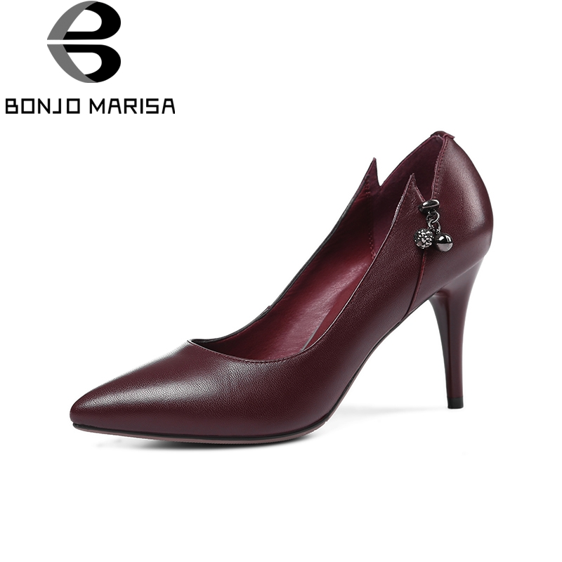 BONJOMARISA 2018 Spring Autumn Brand Elegant Genuine Leather Women Pumps Shallow slip-on Ol High Heels Shoes Woman Size 34-39 2016 new pumps ol style thick high heels women shoes with bowtie pu leather shoes woman for spring 3 colors size 35 39 xwd717