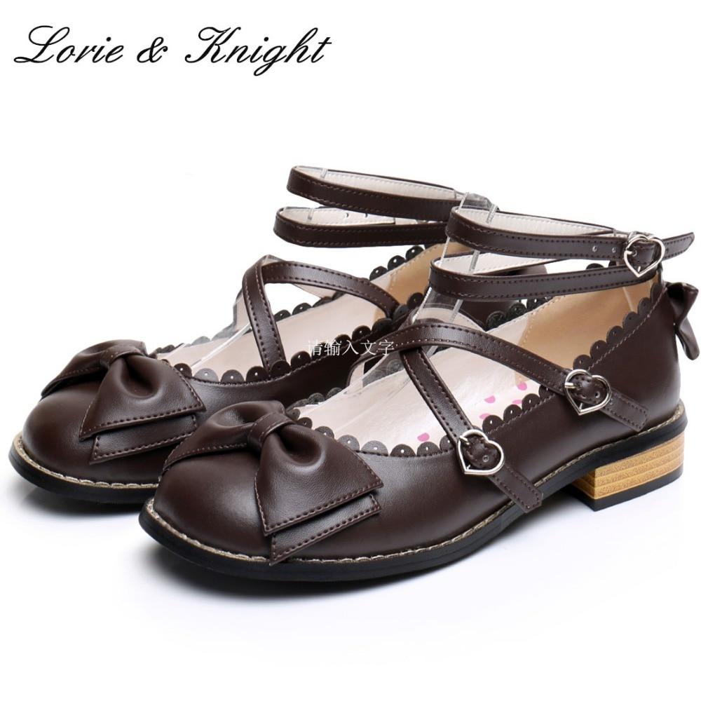 Hot Sale Japanese Harajuku Mori Girl Sweet Bowtie Chunky Heels Cross Straps Kawaii Lolita Shoes
