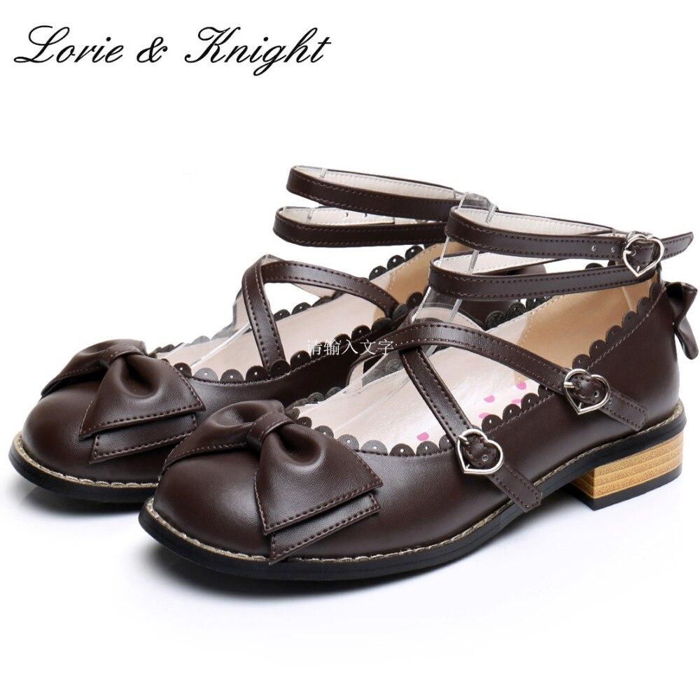 حار بيع اليابانية المتناثرة موري فتاة الحلو بووتي حذاء بكعب سميك عبر الأشرطة Kawaii لوليتا أحذية-في أحذية نسائية من أحذية على  مجموعة 1