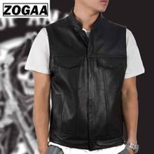 ZOGGA 2019 Men Vest Black Biker Motorcycle Hip Hop Waistcoat Male Faux Leather Punk Solid Spring Sleeveless