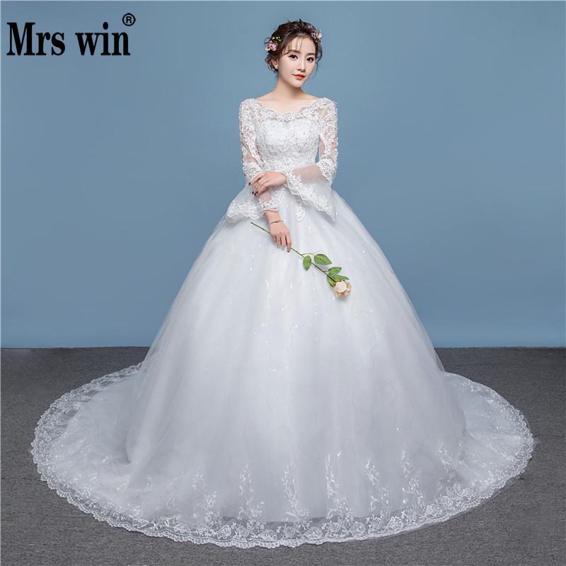Full Sleeve Wedding Gown: 2018 New Arrival Full Sleeve Wedding Dress Sweep Brush