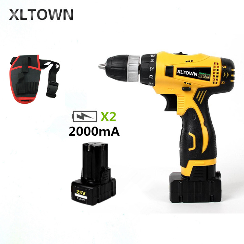 XLTOWN new 25V Electric Drill 2000mA Large Capacity Lithium Battery Electric Screwdriver Multi-Motion Electric Drill power toolsXLTOWN new 25V Electric Drill 2000mA Large Capacity Lithium Battery Electric Screwdriver Multi-Motion Electric Drill power tools