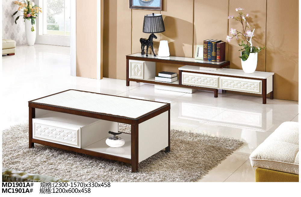 MD1901A MC1901A Modern living room furniture set tea table & tv stand glass top with drawers coffee table tv cabinet tv stand