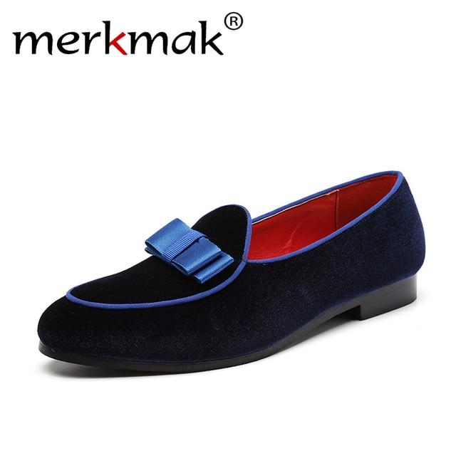 Merkmak Bowknot Vestido de Casamento Dos Homens Marca De Luxo Camurça Mocassins Mocassins Macios Foortwear Casuais Masculinos Sapatos de Condução Deslizamento Em Sapatas