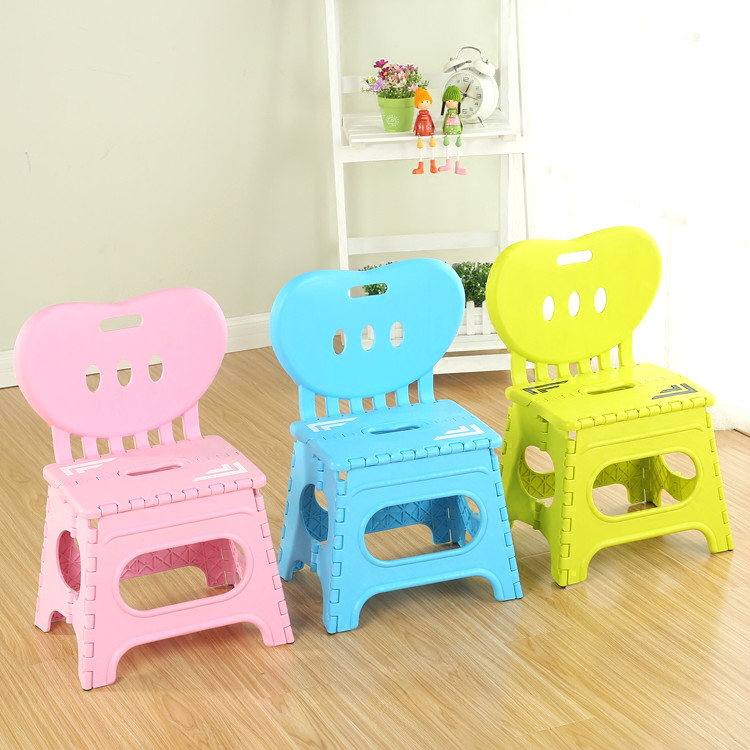 Multifunctional folding stool plastic backrest portable home chair creative kindergarten small stool children's furniture