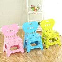 Multifunctional Folding Stool Plastic Backrest Portable Home Chair Creative Kindergarten Small Stool Children S Furniture