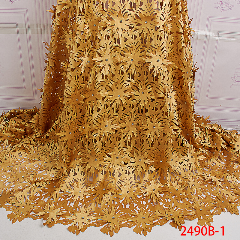High Quality Laser Cut Lace Fabric with Beads Latest Fashion African Lace Fabrics French Lace Fabrics