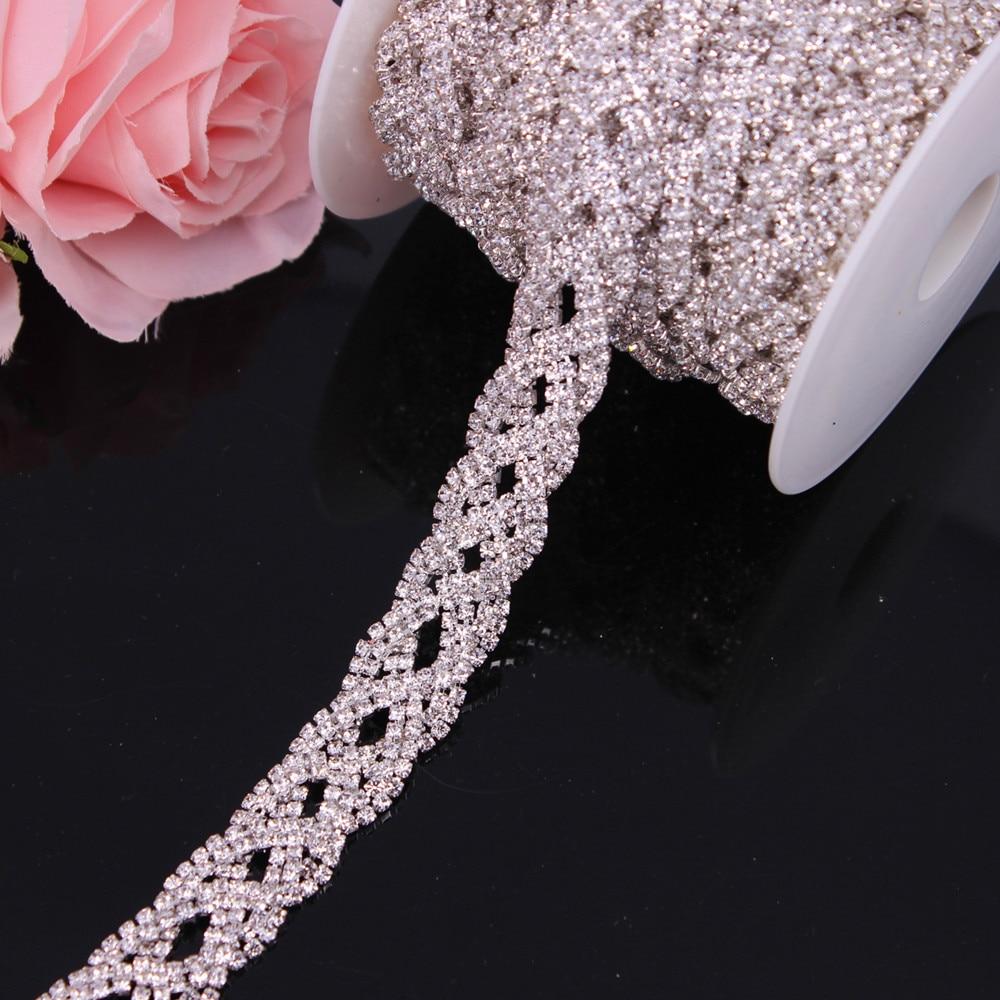 Wholesale Cheap Price 1 Yard Silver Ab Elegant Cup Chain Trim for Wedding Dress Belt Crystal Trim -Metal Rhinestone Applique