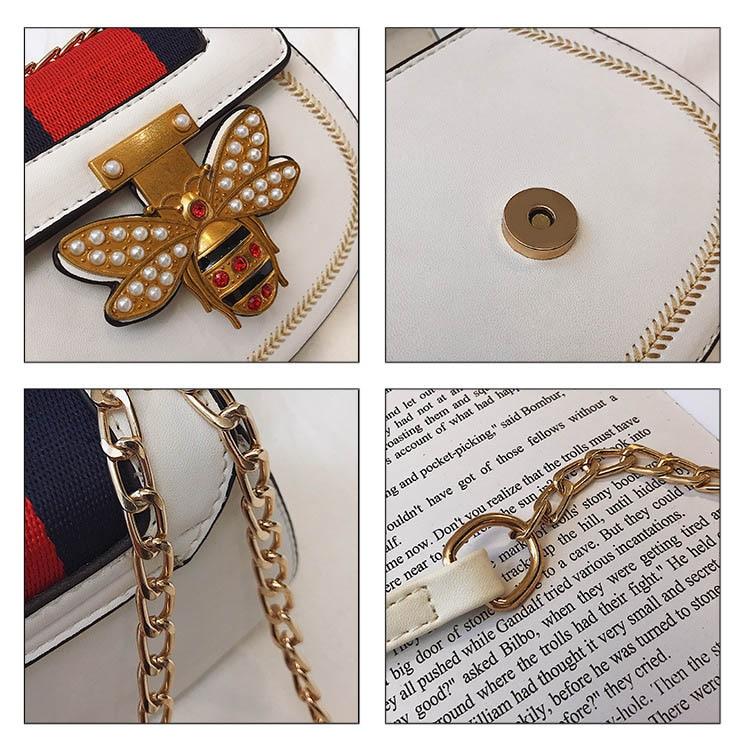 Imitation Designer Bags Fashion Bee Shoulder handbag for women Luxury Round PU Cross body Chain Bag Pearl Metal Lock Women's Bag (11)