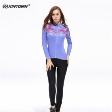 XINTOWN Sweat Long Sleeve Cycling Jersey Set MTB Bike Clothing Bicycle Jerseys Clothes Purple Maillot Ropa Ciclismo