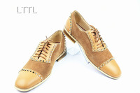LTTL Own Brand Design Autumn Men Patchwork Shoes Suede And Leather Low Heeled Loafers Gold Rivet